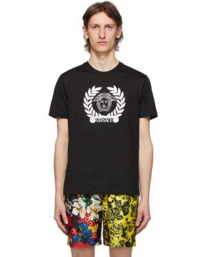 Koszula krótkie z krótkim rękawem z logo z kołnierzem Versace