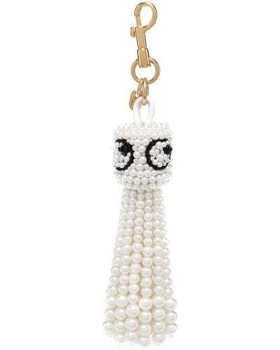 Biały brelok z perłami Anya Hindmarch
