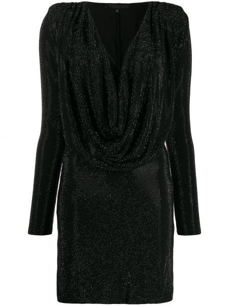 Облегающее черное платье макси с вырезом Philipp Plein