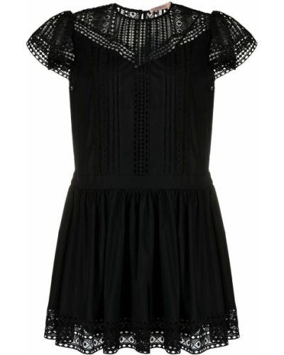 Кружевное черное платье мини с короткими рукавами Twin-set