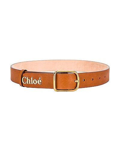 Brązowy pasek skórzany z paskiem Chloe