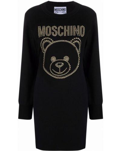 Черное платье с длинными рукавами Moschino