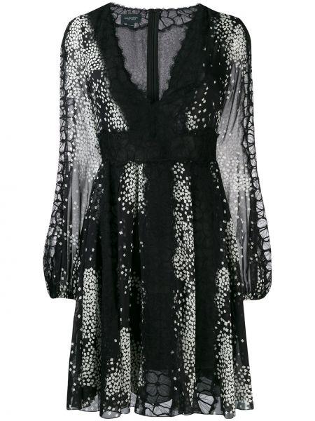 Шелковое черное расклешенное ажурное платье мини Giambattista Valli