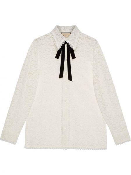 Biała koszula bawełniana z długimi rękawami Gucci