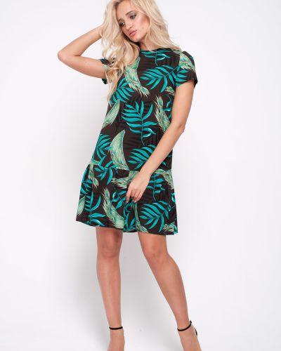 С рукавами прямое платье из штапеля с оборками Leleya