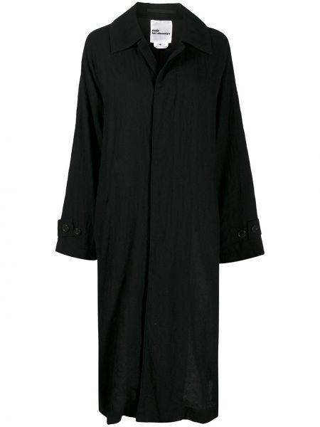 Черное однобортное шерстяное длинное пальто с воротником Comme Des Garçons Noir Kei Ninomiya