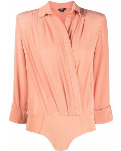 Розовая шелковая классическая рубашка с воротником Elisabetta Franchi