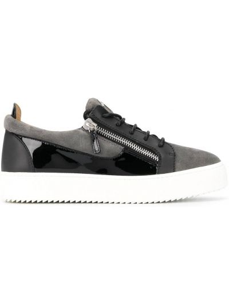 Ażurowy skórzany czarny sneakersy zasznurować Giuseppe Zanotti