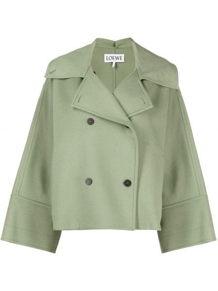 Шерстяная с рукавами зеленая длинная куртка Loewe