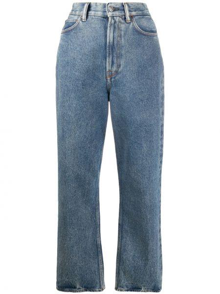 Bawełna niebieski jeansy na wysokości z kieszeniami wysoki wzrost Acne Studios