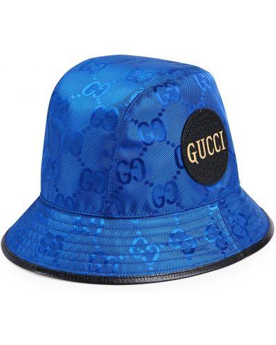 Niebieski kapelusz skórzany z printem Gucci