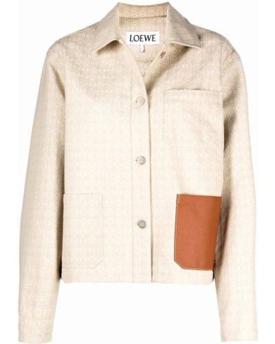 Хлопковый пиджак с карманами с воротником с длинными рукавами Loewe