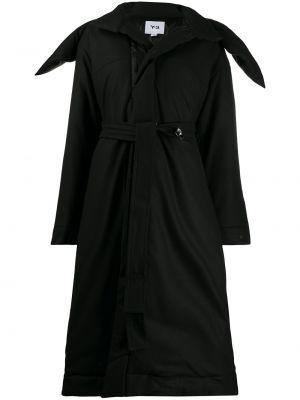 Черное шерстяное длинное пальто оверсайз с воротником Y-3