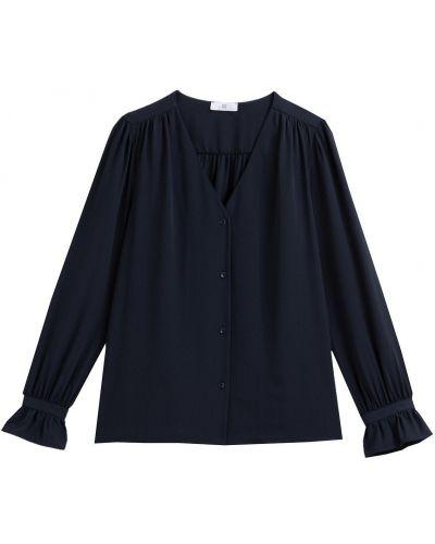 С рукавами синяя блузка с оборками Laredoute