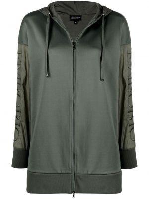 Длинная куртка с капюшоном хаки с вышивкой Emporio Armani