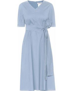 Ватное хлопковое синее платье миди 's Max Mara