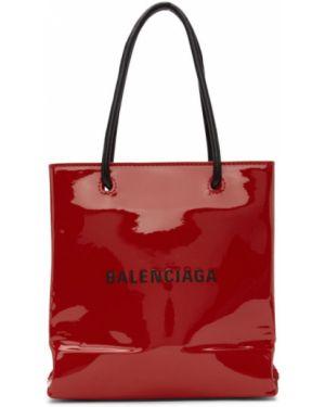 Кожаная сумка шоппер с леопардовым принтом Balenciaga