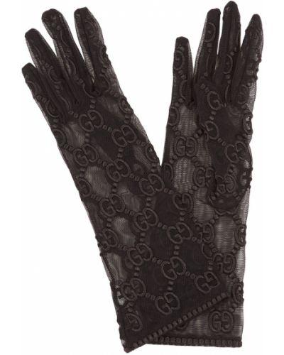 Тонкие черные перчатки с рисунком Gucci