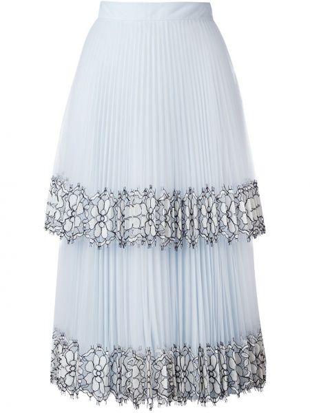 Плиссированная нейлоновая синяя юбка миди Christopher Kane
