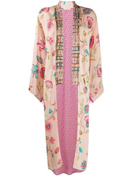 Розовое длинное пальто с капюшоном букле Anjuna