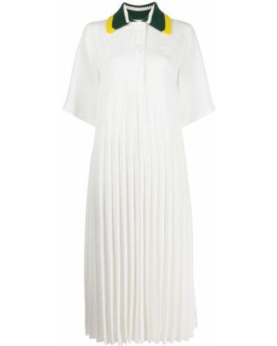Платье макси длинное - белое Lacoste