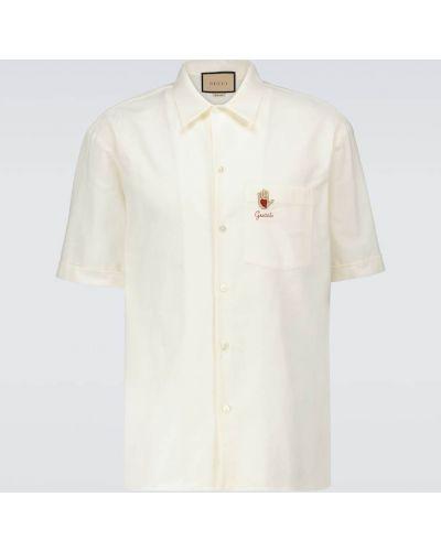Biała koszula oxford bawełniana z haftem Gucci