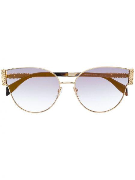 Прямые желтые солнцезащитные очки металлические Moschino Eyewear