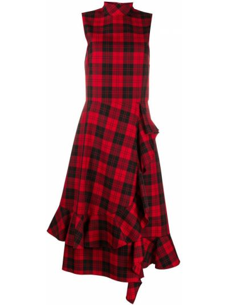 Платье миди с оборками с воротником без рукавов на молнии Mulberry
