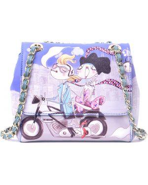Кожаная сумка - голубая Love Moschino