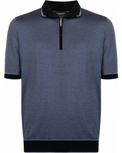 Niebieska koszula bawełniana krótki rękaw Stefano Ricci