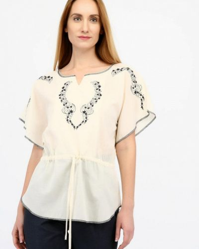 Блузка с коротким рукавом бежевый весенний Panove