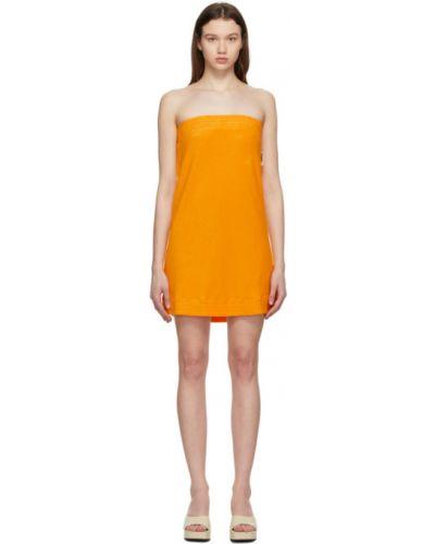 Żółta sukienka mini bawełniana pikowana Simon Miller