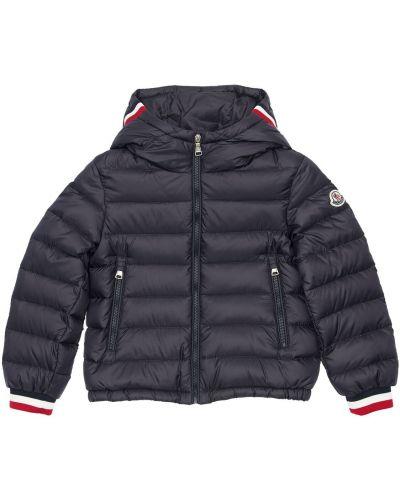 Nylon z rękawami kurtka z kieszeniami z łatami Moncler
