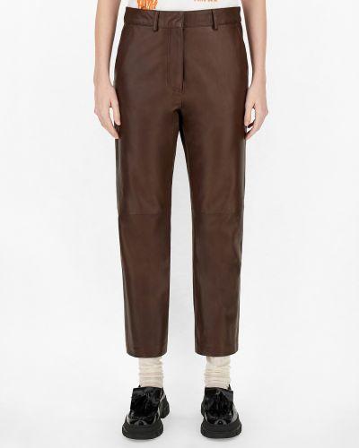 Кожаные брюки - коричневые Maxmara