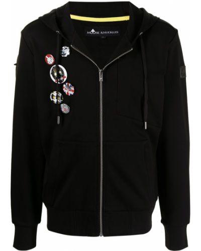 Czarna bluza długa z kapturem z długimi rękawami Moose Knuckles