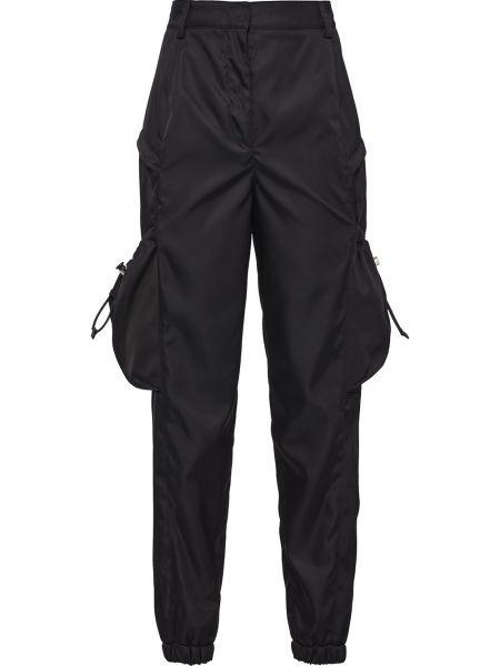 Черные нейлоновые укороченные брюки с карманами с высокой посадкой Prada
