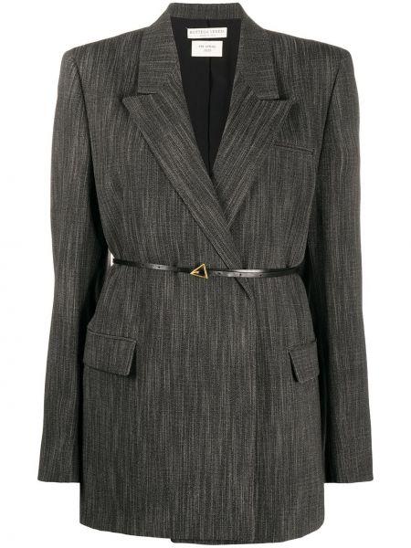 Черный пиджак двубортный с поясом Bottega Veneta