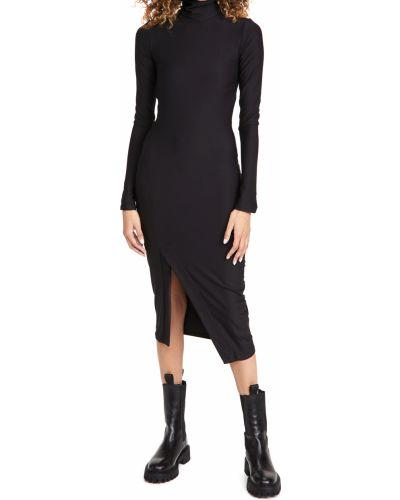 Трикотажное черное платье макси с длинными рукавами Alix