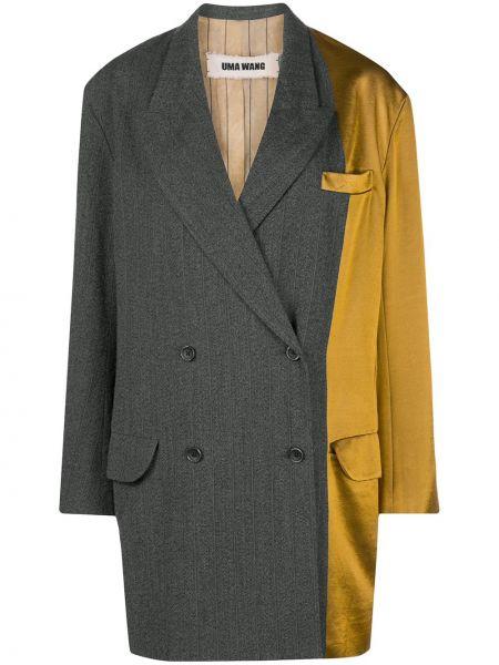 Серая тонкая куртка со вставками с манжетами Uma Wang