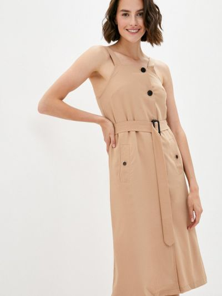 Бежевое прямое платье B.style