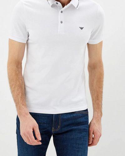 Белое поло с коротким рукавом Emporio Armani