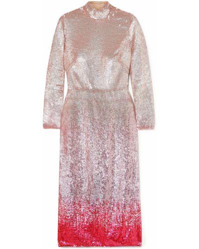 Открытое розовое платье миди с открытой спиной Temperley London