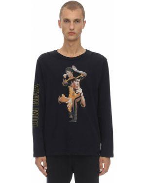 Czarny t-shirt z długimi rękawami bawełniany Dim Mak Collection
