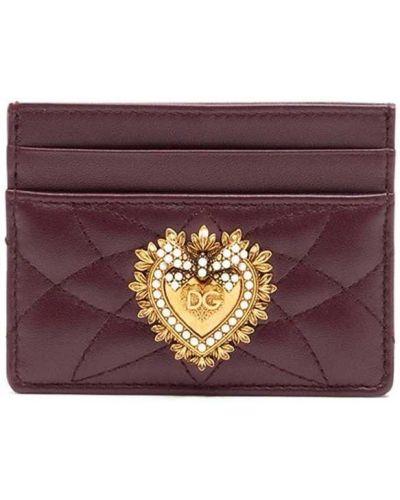 Золотистая красная кожаная визитница Dolce & Gabbana