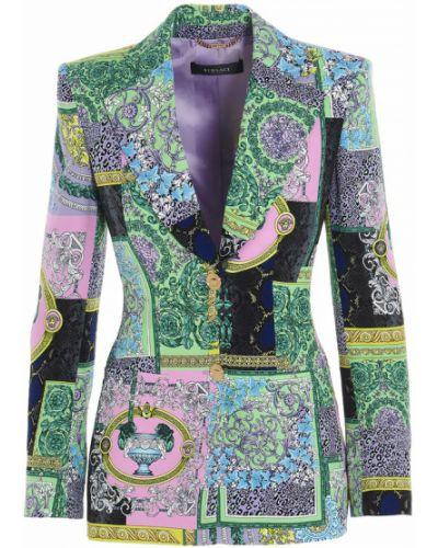 Zielony długi płaszcz z długimi rękawami na rzepy Versace
