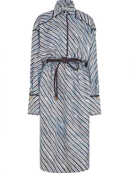 Шелковое платье с нашивками Fendi