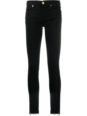 Черные джинсы-скинни с низкой посадкой на молнии 7 For All Mankind