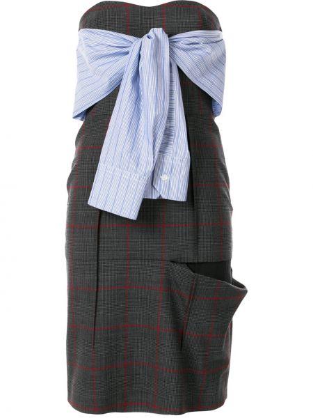 Серое платье миди без бретелек с вырезом со шлицей Unravel Project