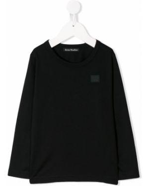 Мягкая с рукавами хлопковая черная футболка Acne Studios Kids
