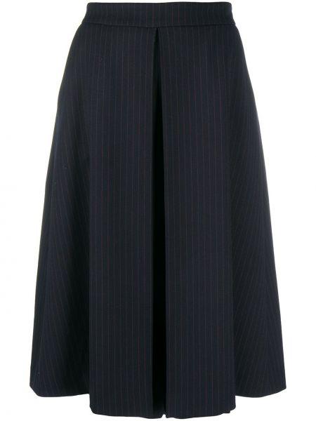 Шерстяная прямая синяя с завышенной талией плиссированная юбка Piazza Sempione